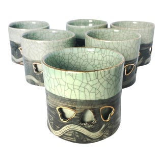 Somayaki Double Wall Crackle Glaze Tea Cups - Set of 6
