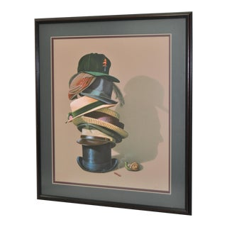 Lithograph of Stack of Hats with Snail and Profile in Shadow by G. Brown