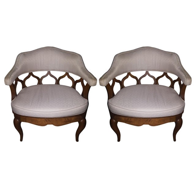 Vintage Barrel Back Chairs - Pair - Image 1 of 8