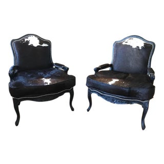 French Louis XV Lounge Chairs in Brazilian Cow Hide - A Pair