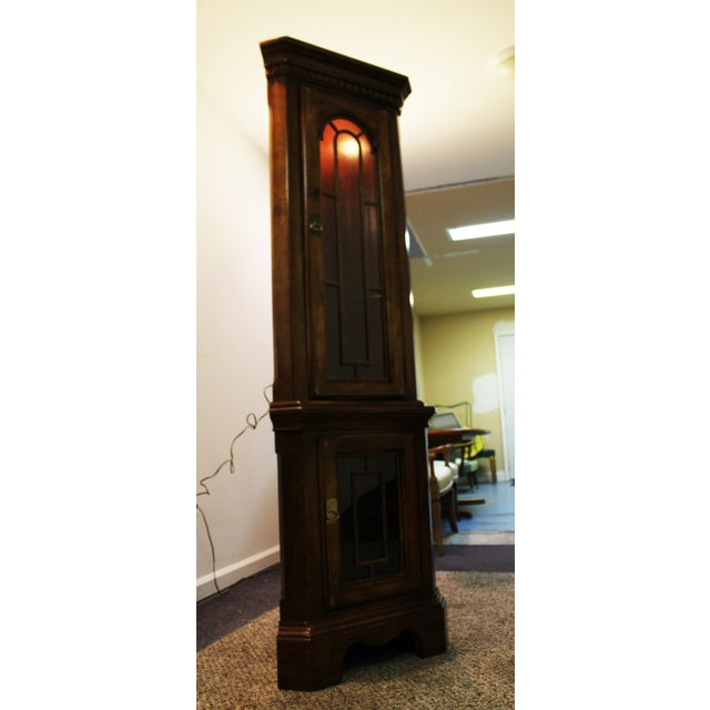 Two-Piece Lighted Cherry Curio Corner Cabinet - Image 3 of 11