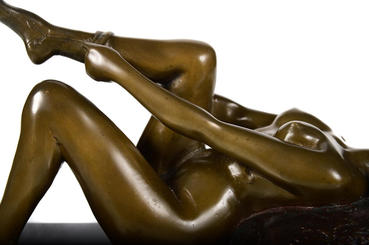 Vintage Bronze Sculpture Reclining Pin Up Girl - Image 4 of 10  sc 1 st  Chairish : reclining sculpture - islam-shia.org