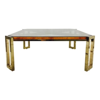 Wrapped Rattan & Brass Coffee Table