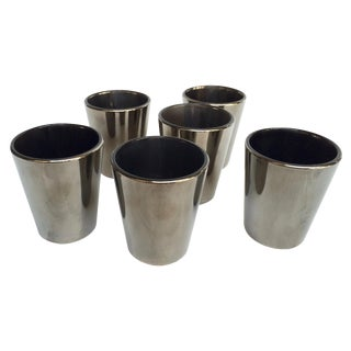 Gunmetal Glass Votive Candle Holders - Set of 6