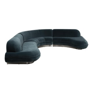 A Sensational Three Part Velvet Upholstered Sectional Sofa 1980s