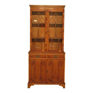 Southampton Yew Wood English Style 2 Door Mahogany China Bookcase