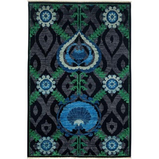 "Suzani, Hand Knotted Area Rug - 4' 2"" X 6' 1"""