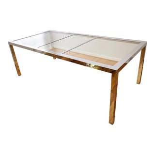 Mid-Century Dia Milo Baughman Glass & Chrome Dining Table