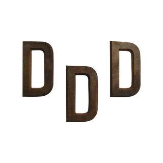 Vintage Brass Decorative Letter Ds - Set of 3