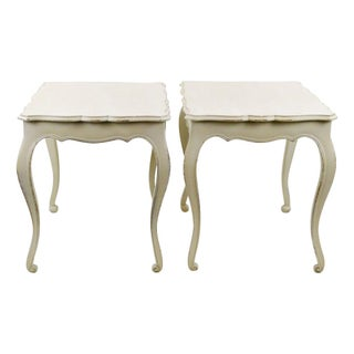 Swedish Style Cream Painted Side Tables - A Pair