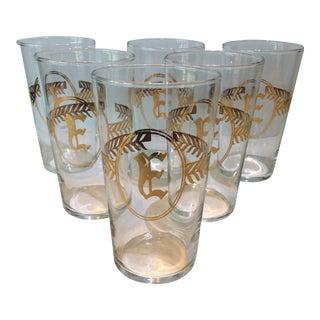 """Gold """"E"""" Monogrammed Highball Glasses - Set of 6"""