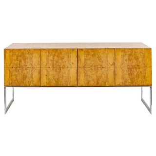 Vintage Milo Baughman for Thayer Coggin Burl & Chrome Credenza