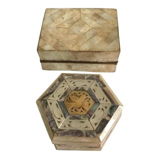 Mother-of-Pearl & Capiz Inlaid Boxes - A Pair