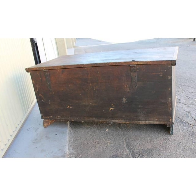 19th Century Original, Blue Painted Blanket Chest - Image 9 of 10