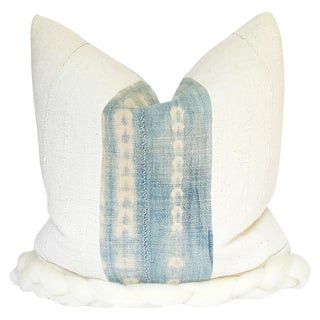 """Braided White African Mud Cloth Pillow 21"""""""