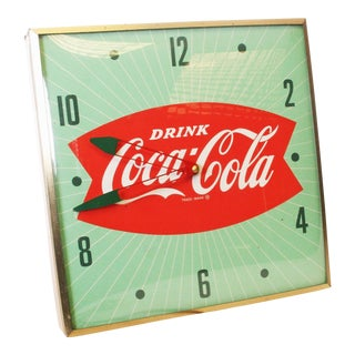 Original Vintage Coca-Cola Fishtail PAM Wall Clock