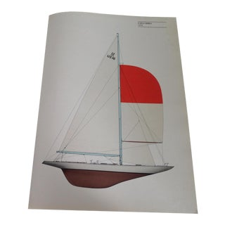"Vintage 1958 ""Columbia"" Sailboat Print"