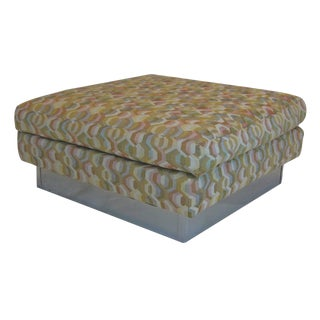 Large Craft Associates Ottoman with Chrome Base and Geometric Upholstery