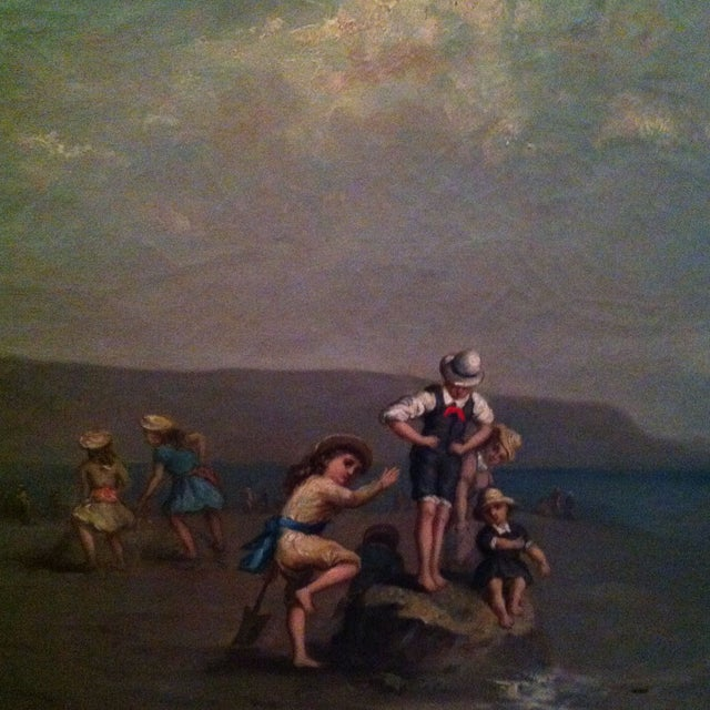 Antique French Painting Of Children On The Beach - Image 1 of 7
