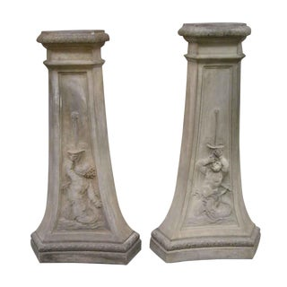 Pair of Terracotta Pedestals With Figures