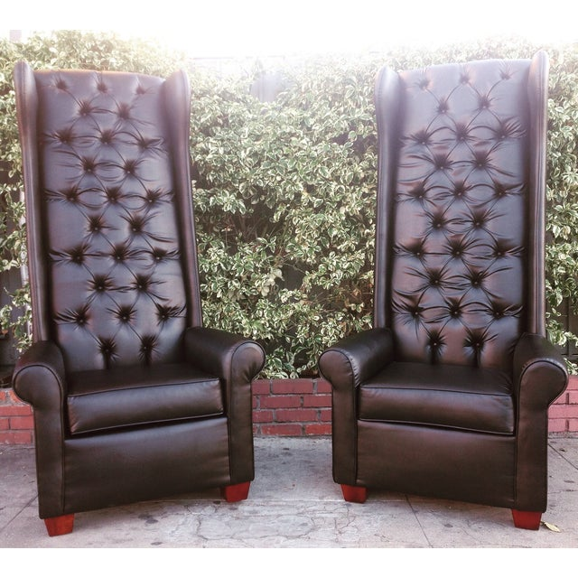 Black Tall Tufted Chairs - A Pair - Image 2 of 6