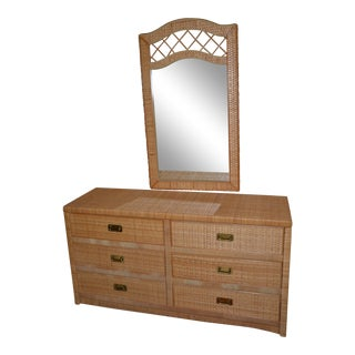 Vintage Rattan & Brass Hardware Six Drawer Dresser With Mirror