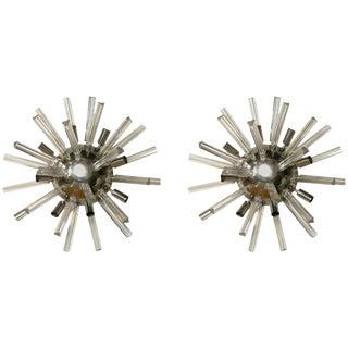 Italian Art Deco Spherical Crystal Sconces- A Pair