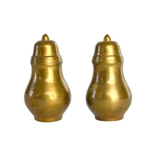 Vintage Brass Salt & Pepper Set