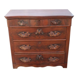 Fancy 19th Century Empire Walnut Tall Chest of Drawers