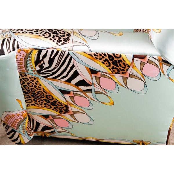 Roberto Cavalli Custom Upholstered Silk Loveseat - Image 7 of 9