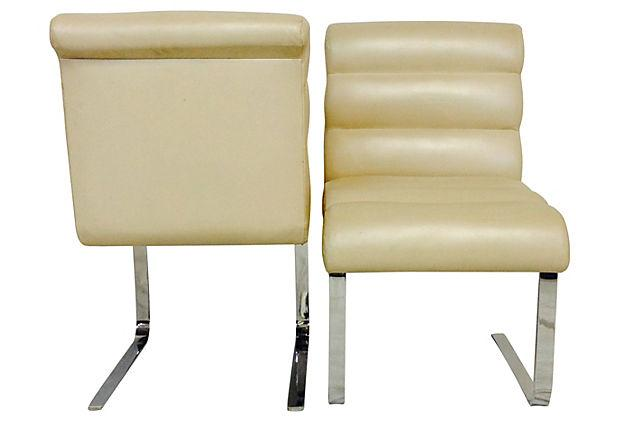 Pace Collection Quot Lugano Quot Leather Amp Chrome Chairs Set Of