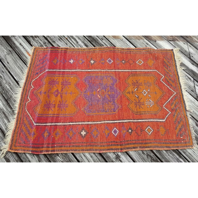 Vintage Orange Turkish Rug - Image 3 of 3