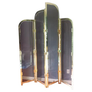 Brass & Smoked Glass Room Divider