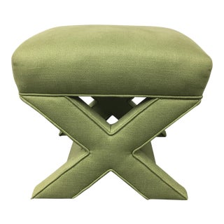 Green Upholstered X Bench