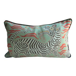 """Clarence House """"Tibet Dragon"""" Celadon Pillow"""