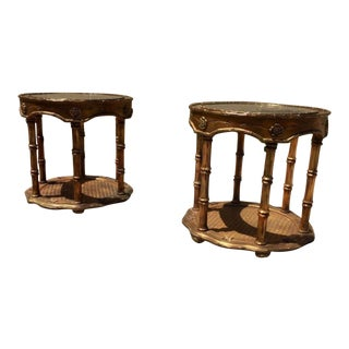 Gold Gilt Faux Bamboo Side Tables - A Pair