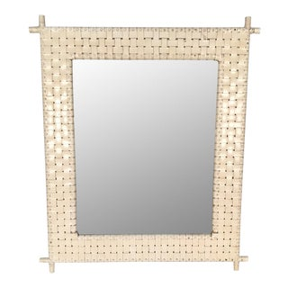 Woven Leather Bamboo Framed Wall Mirror