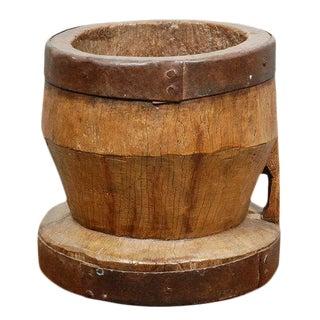 Large Antique Wood Mortar