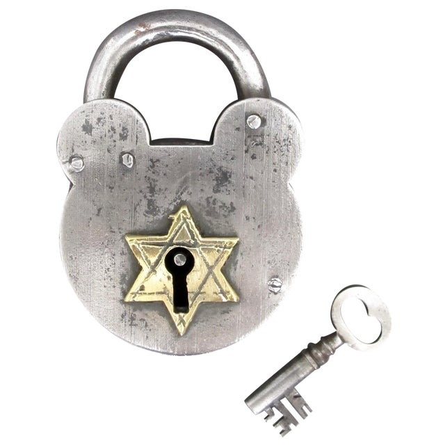 Image of Steel & Brass Antique Padlock From England