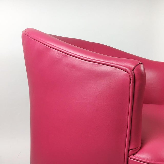 Pair of Vintage Pink Leather Club Chairs - Image 8 of 11
