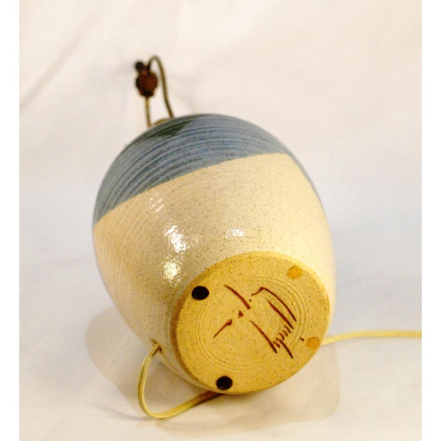 Mid-Century Blue & Tan Pottery Lamp - Image 5 of 7