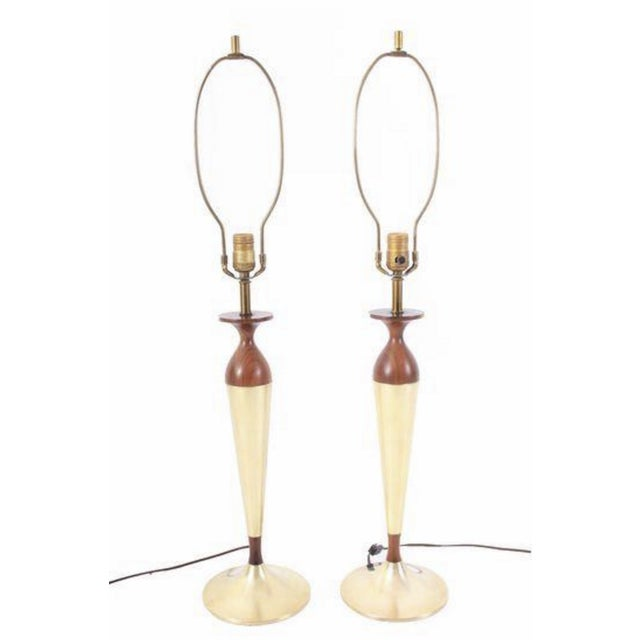 Image of Mid-Century Walnut & Brass Lamps - A Pair