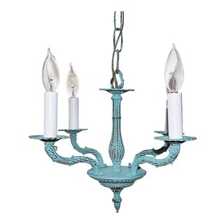 French Style Blue Brass Chandlier