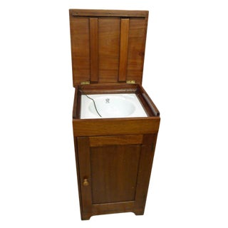 English George V Mahogany Cabinet With Enameled Nautical Sink