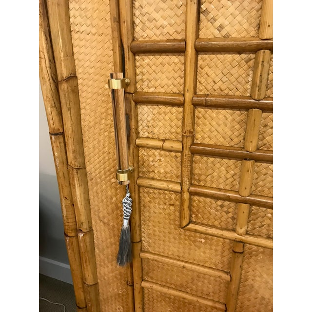 Vintage Rattan Bamboo Armoire Cabinet With Lucite And Brass Handle - Image 4 of 11