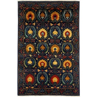 """Suzani Hand Knotted Area Rug - 5'3"""" X 8'"""