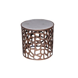 Metal Round Side End Table With Marble Top