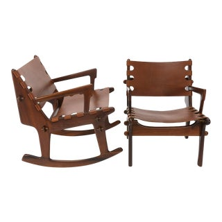 Angel Pazmino Rosewood Lounge and Rocker - A Pair