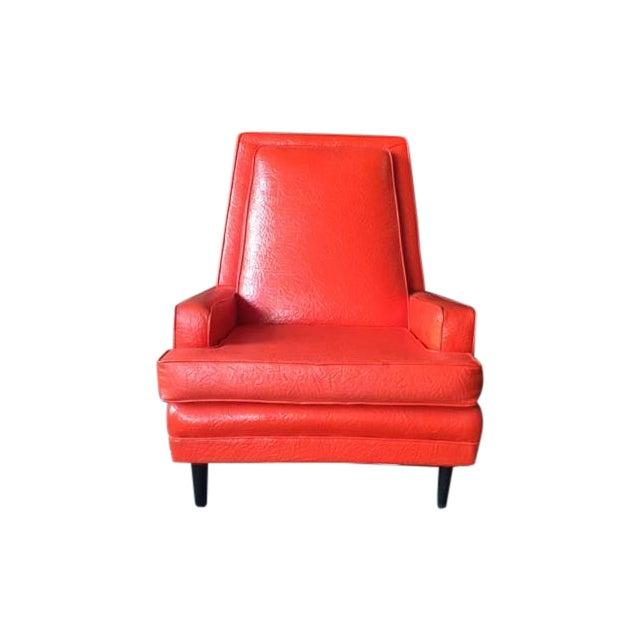 Vibrant Mid Century Orange Vinyl Lounge Chair - Image 1 of 7