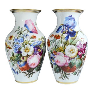 Paris Porcelain Large Botanical Vases, Mid-19th century.